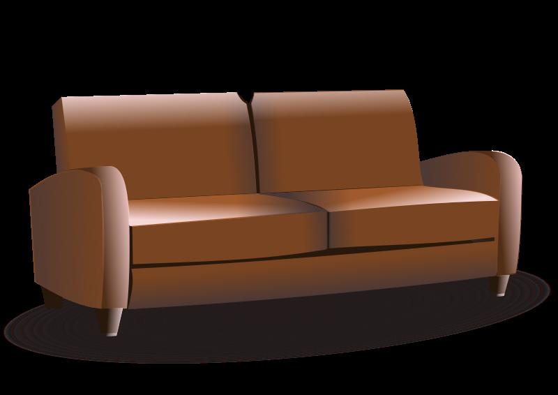 Brown leather sofa clip arts art.