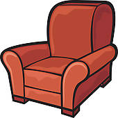 Clipart of Luxurious leather sofa with frame in royal interior.