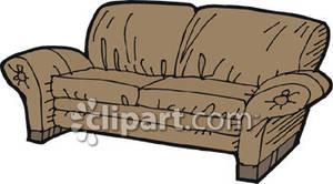 Brown Sofa Clipart.