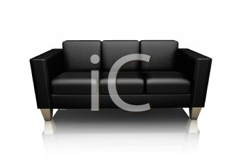 3D Black Leather Sofa in a Contemporary Design.