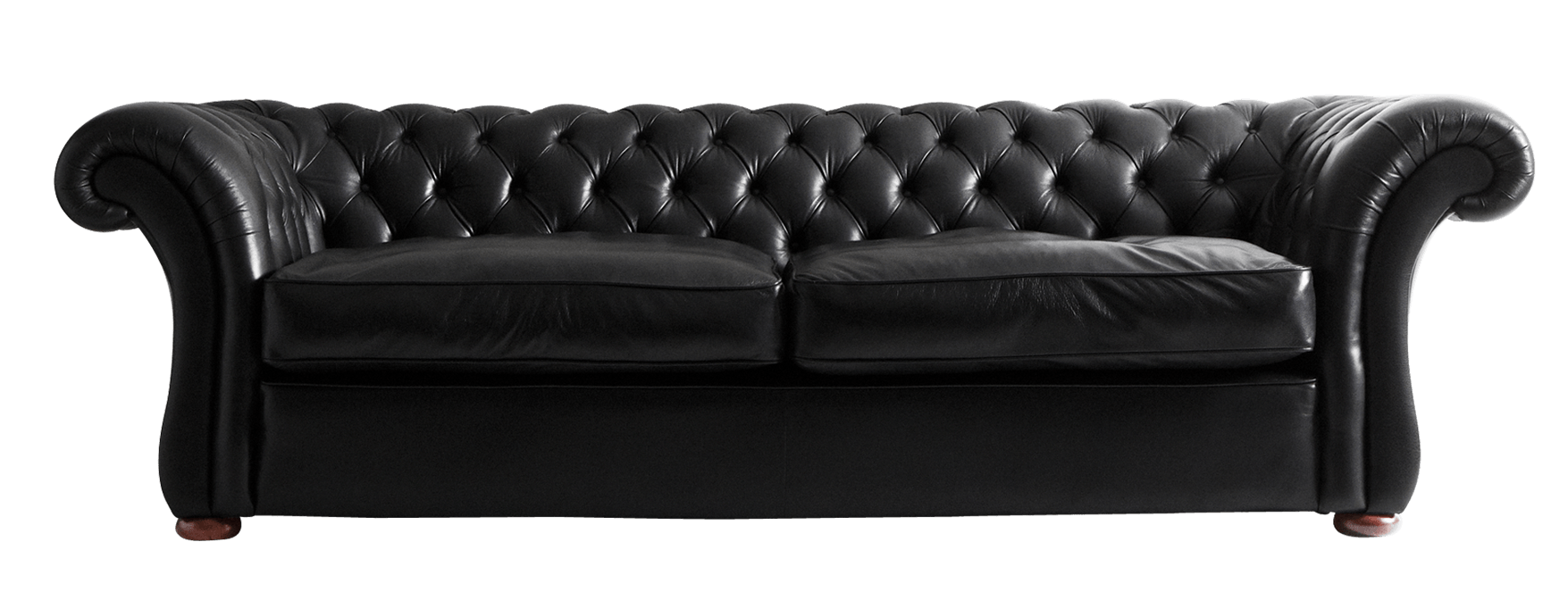 Black Leather Sofa transparent PNG.