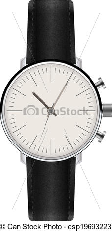 Vector Illustration of Watch with Leather Strap. Vector.