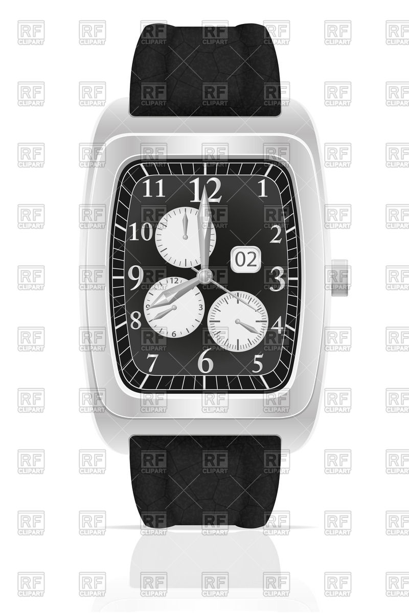 Silver mechanical wristwatch watch with leather strap Vector Image.