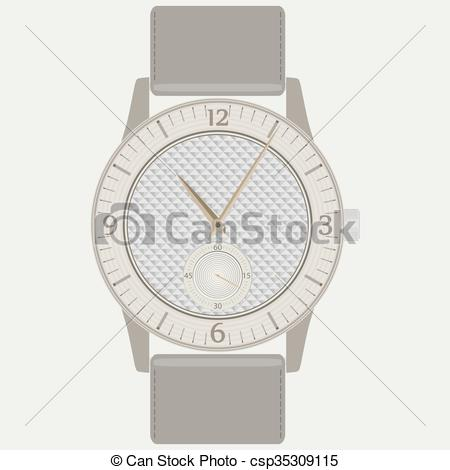 Vector Clip Art of Elegant fashion women's wrist watch with wood.