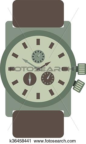 Clipart of Military style watch with brown leather strap time.