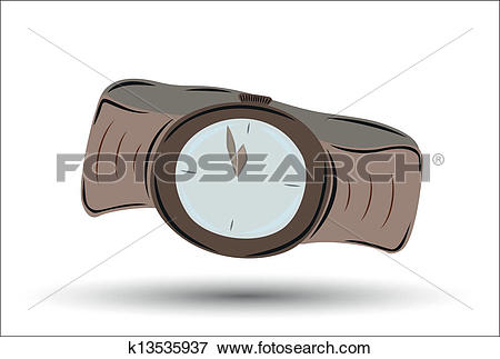 Clip Art of brown clock watch with brown leather strap showing.