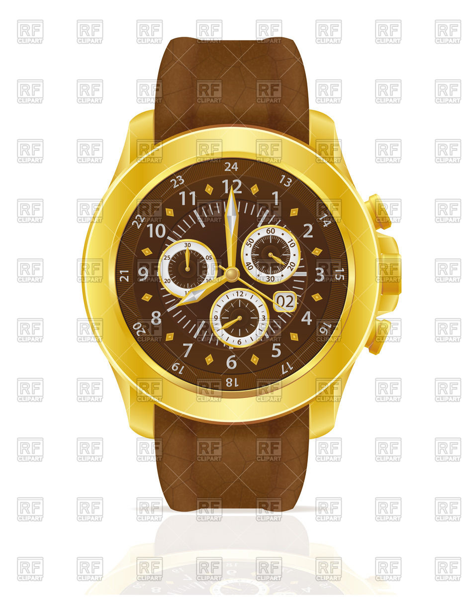 Golden mechanical wristwatch with leather strap Vector Image.