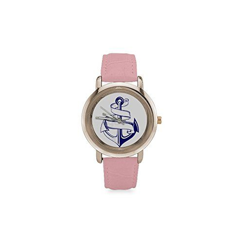 Hot Sale Gft Anchor Clipart Art Women's Rose Gold Leather Strap.