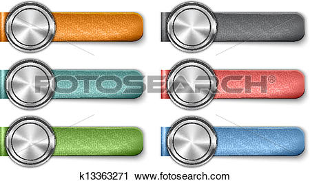 Clipart of Blank metallic web elements with color leather straps.