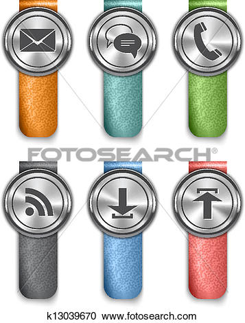Clipart of Communication metallic web elements with colored.