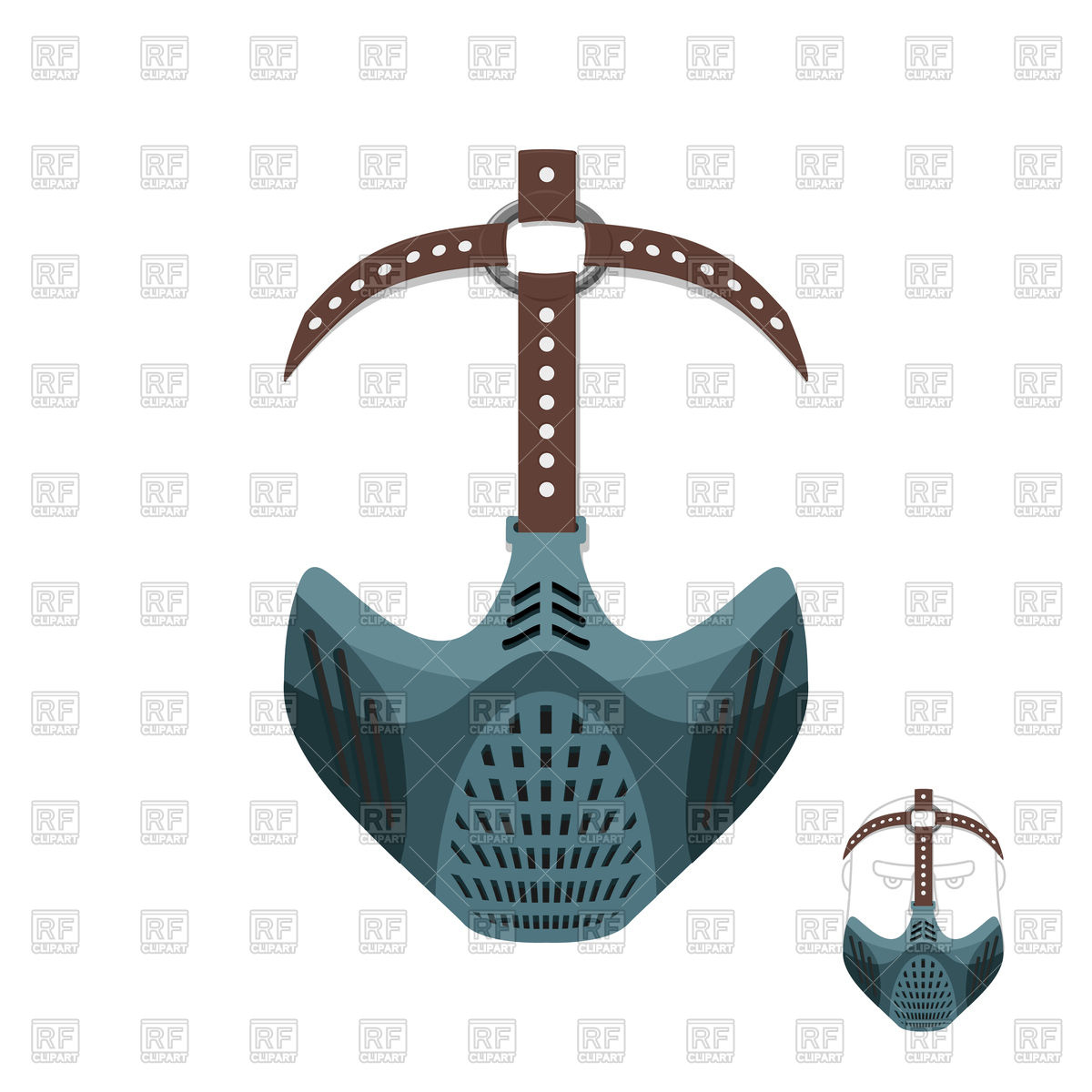 Horrible mask with leather straps Vector Image #131261.