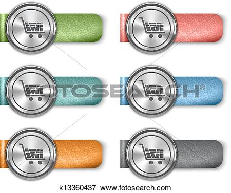 Clip Art of Online store metallic web elements on colorful leather.