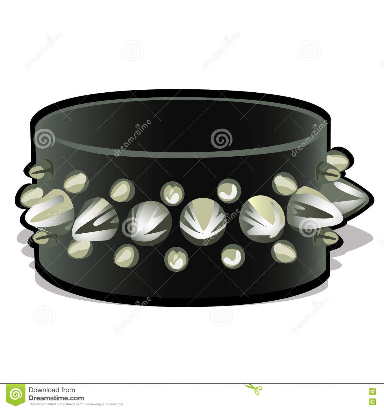 Black Leather Wristband With Metal Spikes Stock Vector.