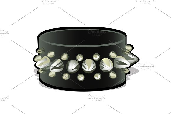 Black leather wristband with metal spikes ~ Illustrations on.