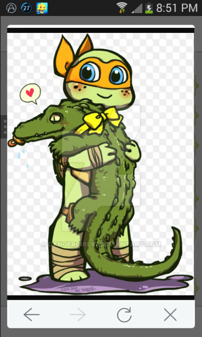 Mikey and Leatherhead by dangergirl67 on DeviantArt.