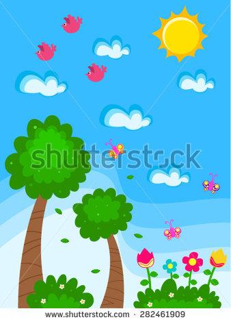 Vector Garden Cartoon Drawing Kids Flowers Stock Vector 282461909.