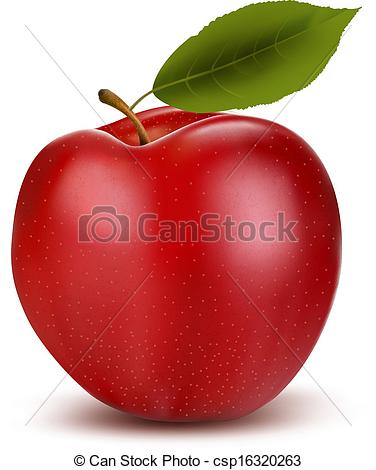 Clip Art Vector of Set of red and green apple fruits with cut and.