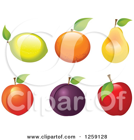 Clipart of Fruits with Leaves.