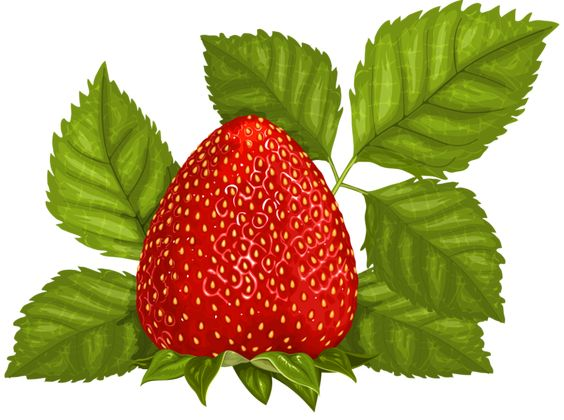 Strawberry with Leaves PNG Clipart Picture.