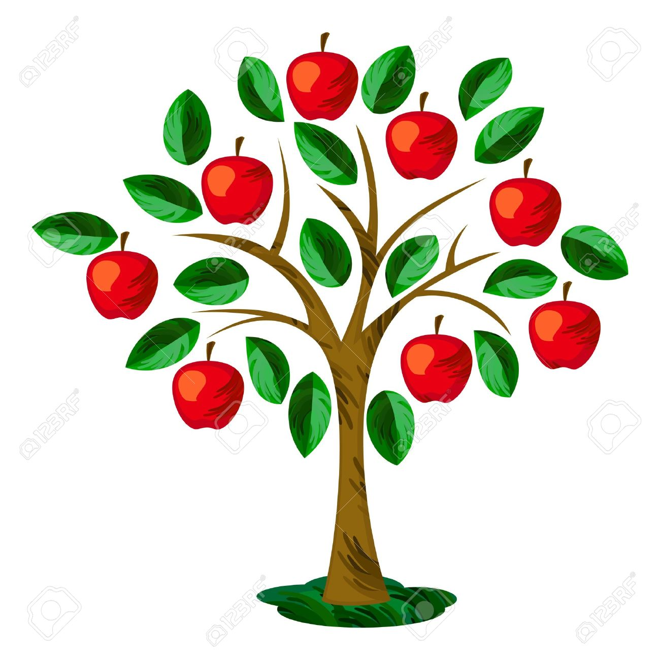 Isolated Apple Tree With Leaves And Fruits Royalty Free Cliparts.