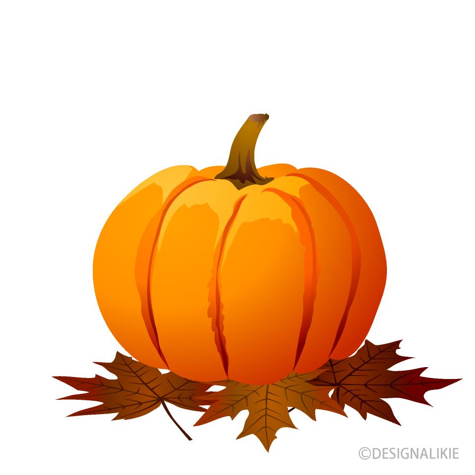 Free Pumpkin and Fallen Leaves Clipart Image|Illustoon.