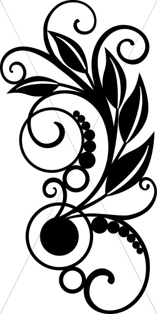 Vines with Leaves Black And Whit Clipart.