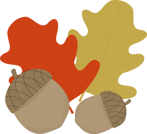Acorn and Leaves Clip Art.