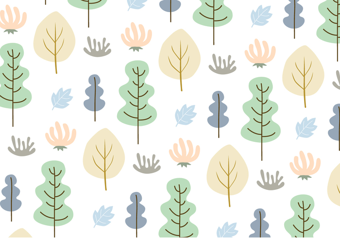Leaves and trees pattern background vector.