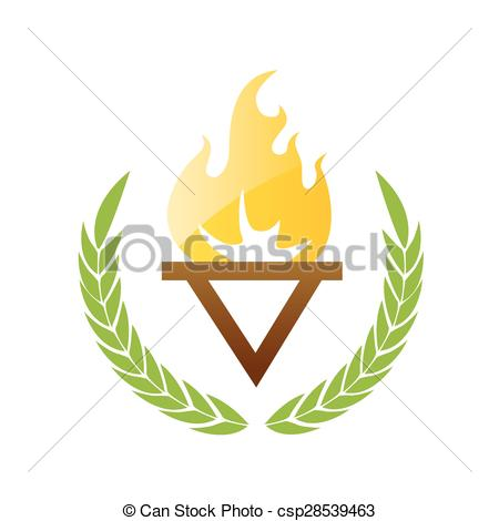 Clip Art Vector of Burning torch with olive leaves csp28539463.