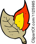 Cartoon Of A Burning Brown Leaf 4.