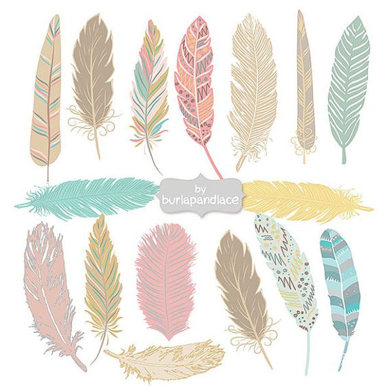 Hand Drawn Feather Aztec Clip Art, Hand Drawn Tribal Feathers.
