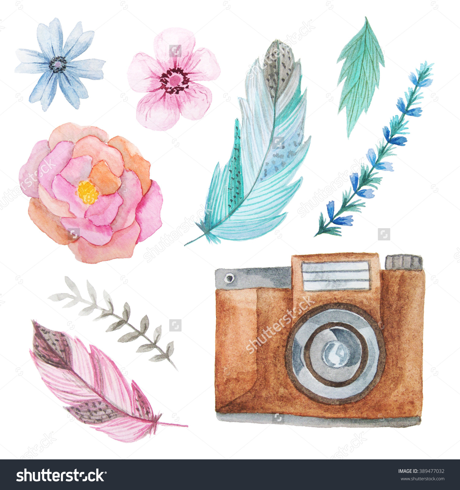 Set Watercolor Photo Camera Flowers Leaves Stock Illustration.