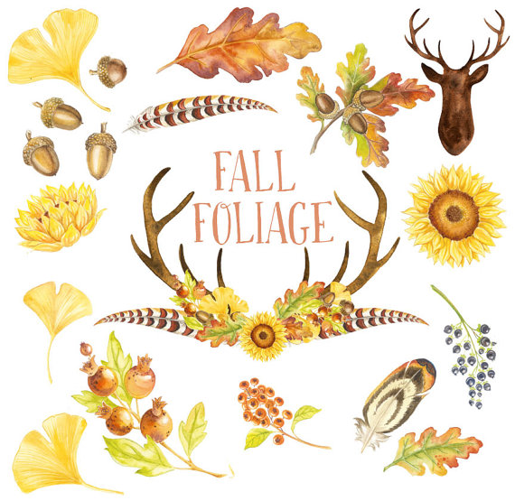 Watercolor Clipart Fall Foliage Deer head by VerdigrisStudios.