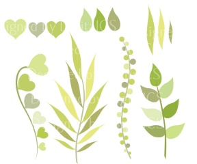 "Green Leaf And Foliage ""LEAF & FOLIAGE CLIPART"" Digital Clipart."