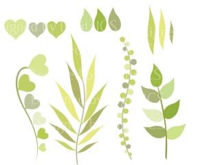 """Green Leaf And Foliage """"LEAF & FOLIAGE CLIPART"""" Digital Clipart."""