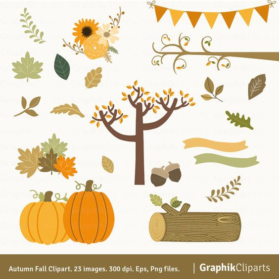 Autumn Fall Clipart. Fall Clipart. Leaves, foliage, autumn tree.