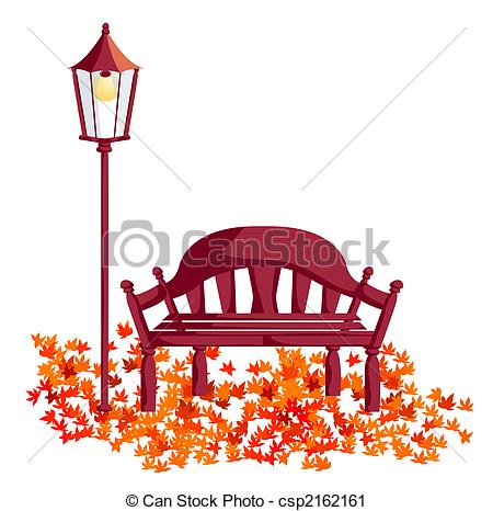 Clipart of wood chair, street lights, maple leaves.