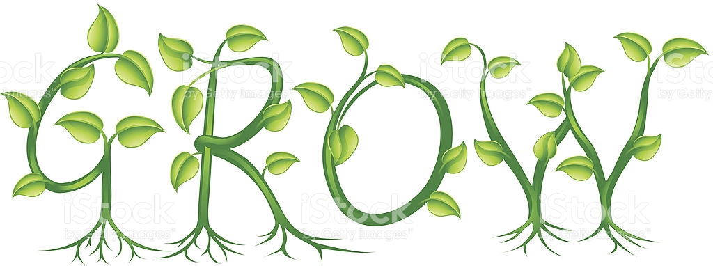 Illustration Of Grow Spelled Out With Leaves And Roots stock.
