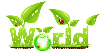 Vector ladybug leaves the grass grow green earth clip arts, clip.
