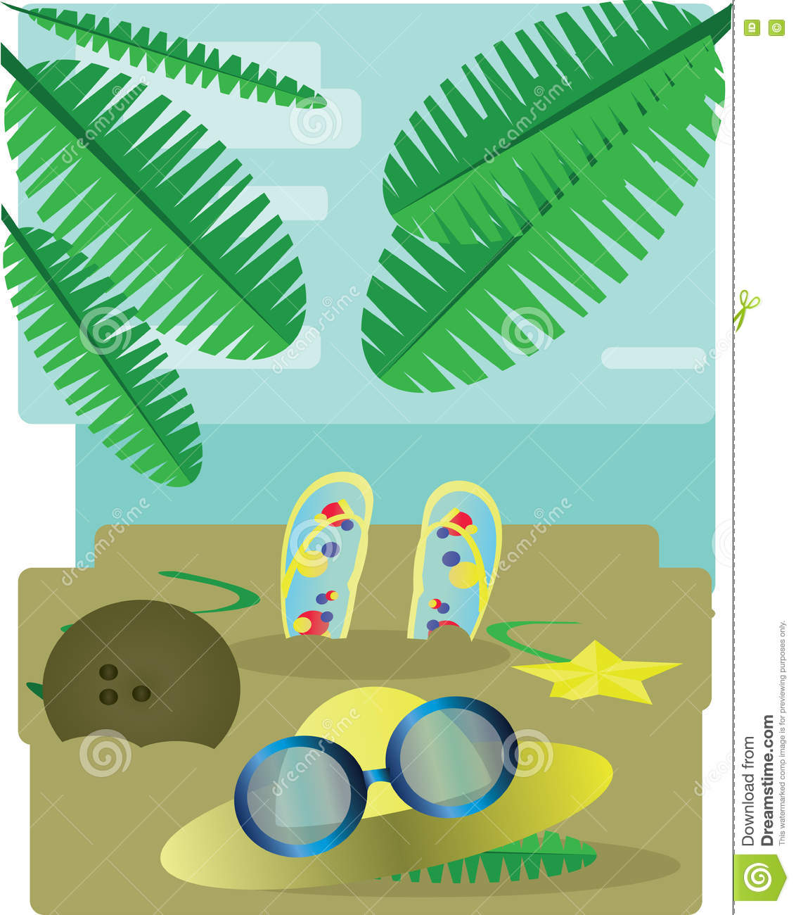 Abstract Design With Palm Leaves, Sand, Slippers, Hat And Sun.