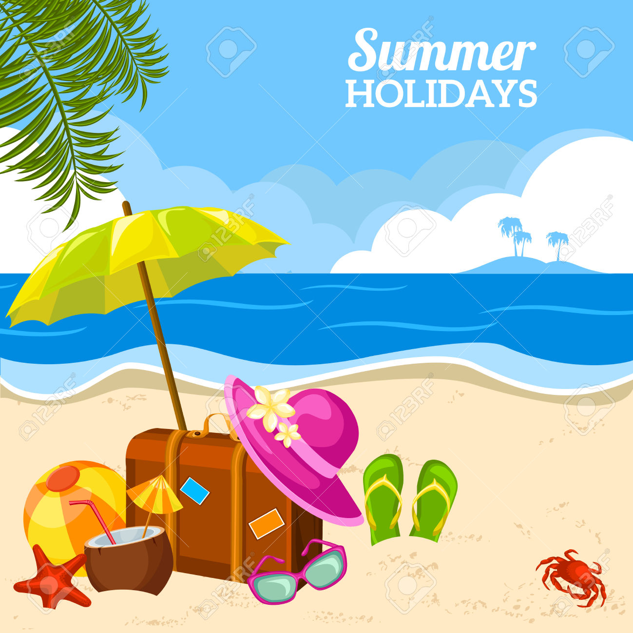 Beautiful Summer Seaside View Poster With Beach Sunny Day With.