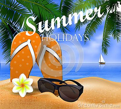 Beach, Palm Tree Leaves, Sand, Sunglasses And Flip Flops Stock.