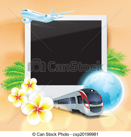 Vector of Blank photo on sand with airplane, train, globe, flowers.