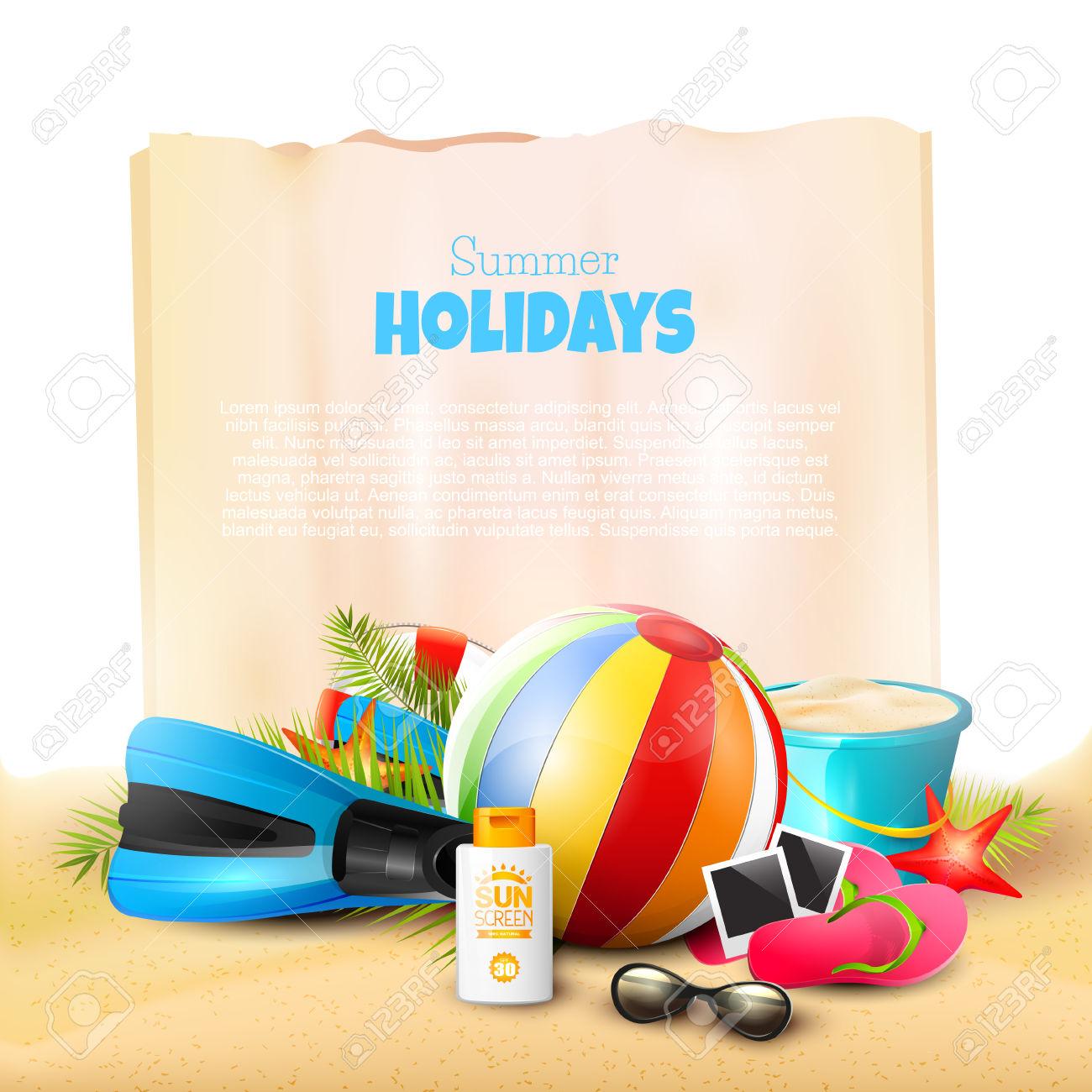 Beach Ball, Sunglasses, Palm Leaves, Diving Fins, Flip.