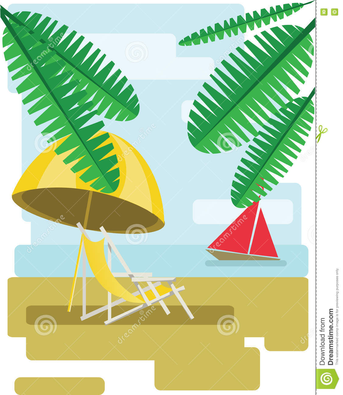 Abstract Design With Palm Leaves, Sand, Beach Umrella And Chair.