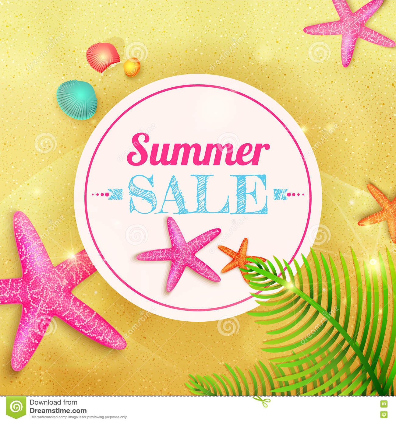 Summer Sale. Summer Background With Starfishes And Palm Leaves On.