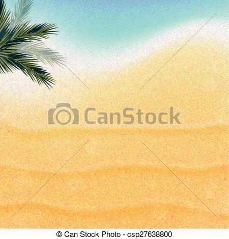 Vector Clipart of Tropical nature, warm Golden sand and the bright.
