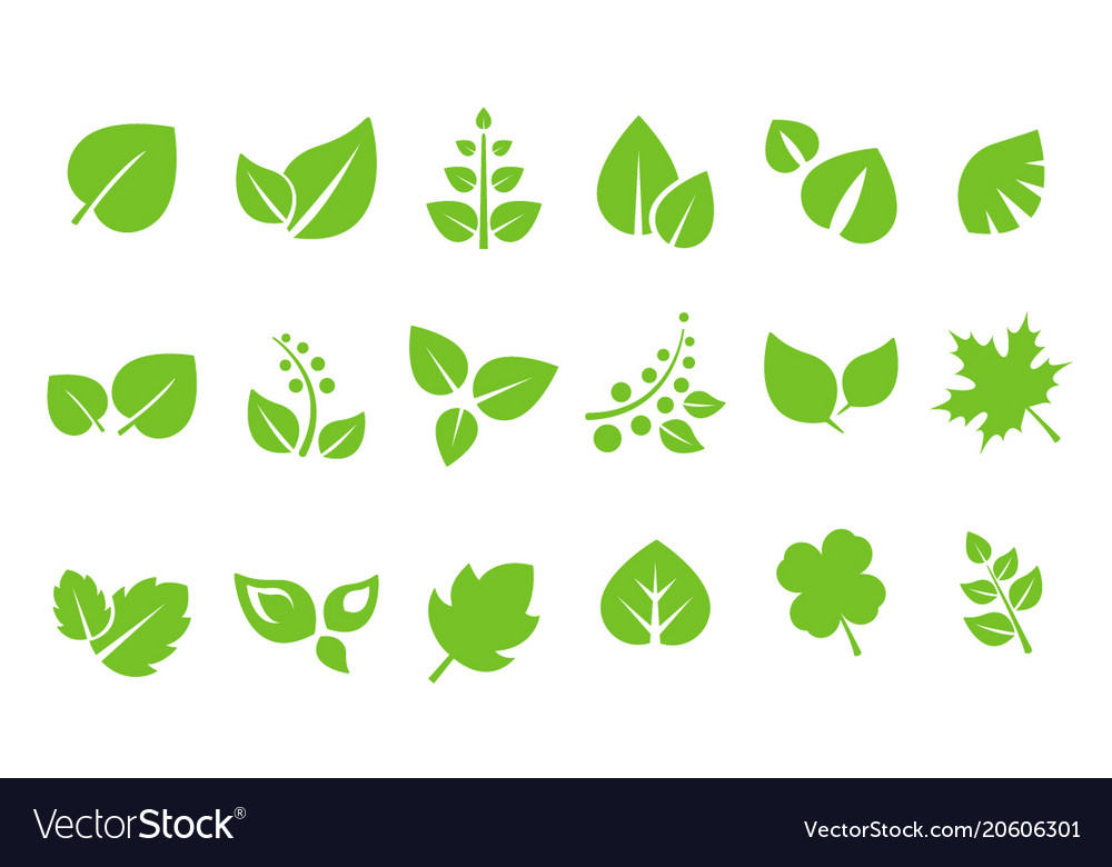 Abstract green leaves logo set ecology symbol.