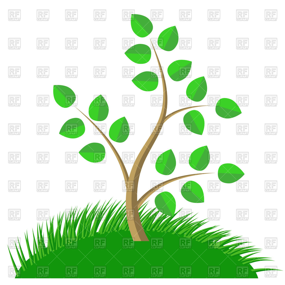 Green cartoon tree with leaves and grass Vector Image #66884.