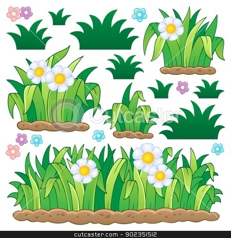 Leaves and grass theme image 2 stock vector.